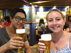 Jisoo and I having a Korean Beer - 24th June