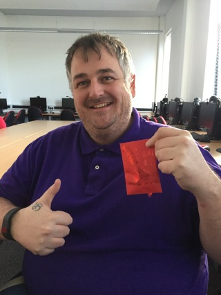 Mark with his envelope!